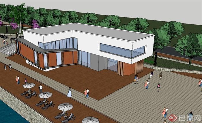 滨海咖啡厅建筑设计sketchup精致设计模型[原创]