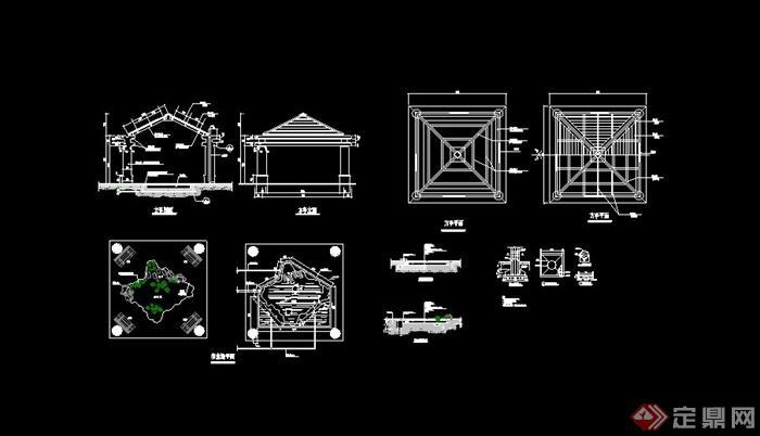 现代中式四角亭设计cad方案[原创]