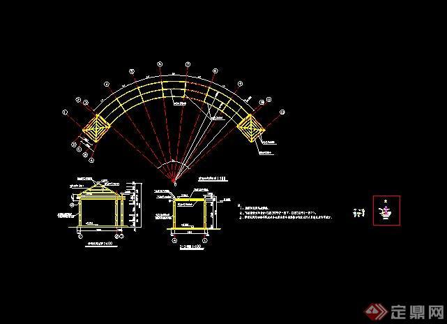 现代弧形亭廊景观设计cad施工图[原创]