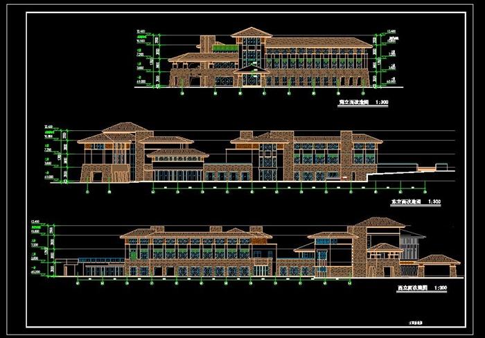 欧式西班牙公建会所建筑方案设计(cad平立剖,效果图)