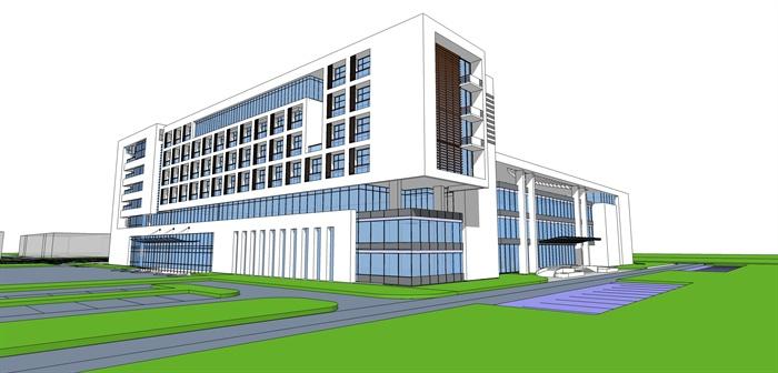 代平面内庭院v平面楼建筑方案设计(skp、cad)[小卖部cad布置图多层图片