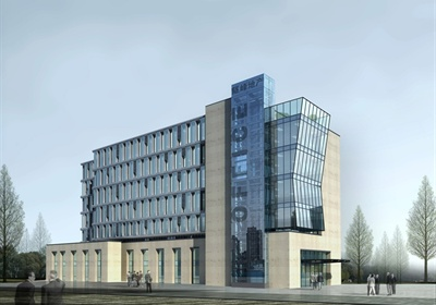 现代多层办公楼建筑方案设计(skp、cad、效果图)