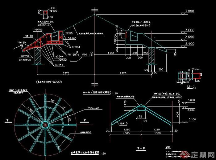 plans] 玻璃屋顶设计cad施工图,包括支架平面图,结构配筋图,图纸内容
