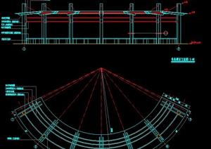 弧形休息廊架设计cad方案图