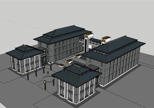 现代中式对称办公楼建筑su(草图大师)模型图片