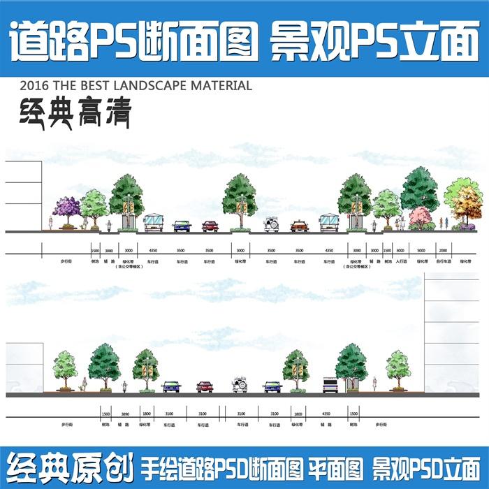 某园林景观手绘道路断面图PSD方案图