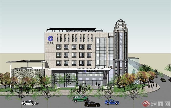 某现代银行办公大楼建筑设计su模型素材[原创]