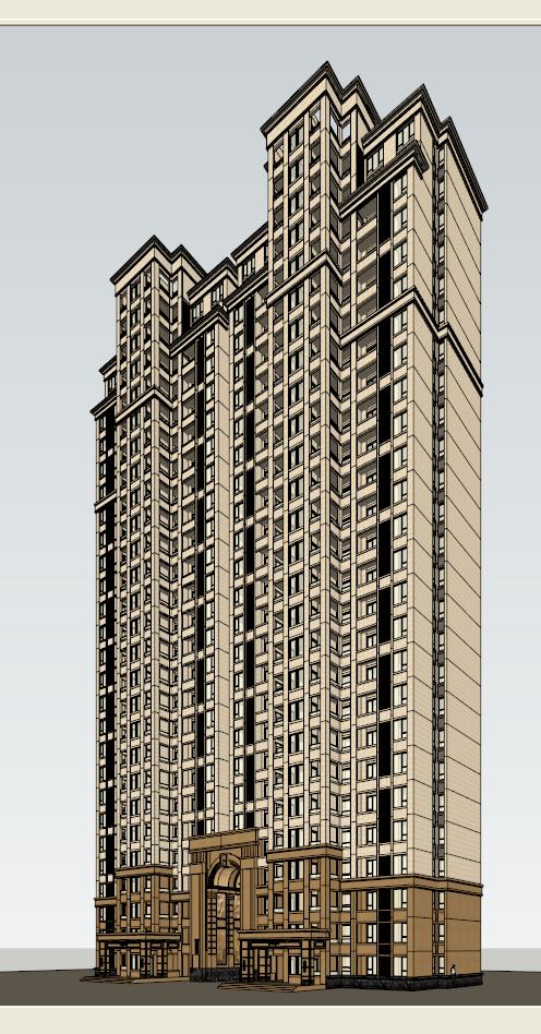 新古典高层住宅建筑su模型
