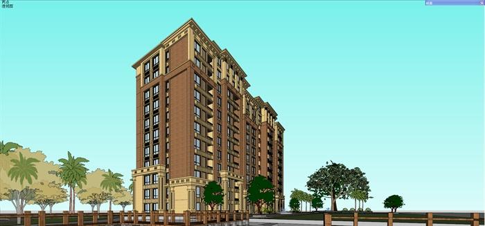 新古典风格小高层住宅楼建筑设计su模型[原创]