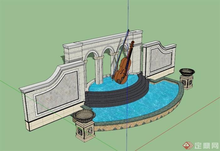 欧式音乐景墙水池景观设计SU模型,该设计风格为欧式设计风格风格,主材为石材,有小提琴雕塑设计,为跌水池景观设计,模型制作美观详细,细节部分制作精致,有材质贴图,具有一定参考使用价值,欢迎下载使用。
