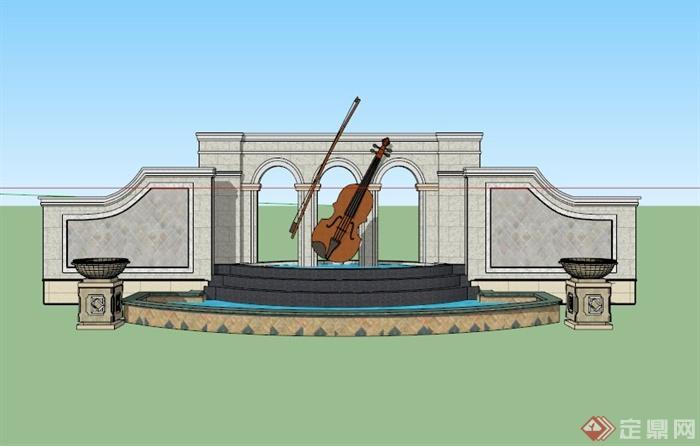 欧式音乐景墙水池景观设计su模型(3)