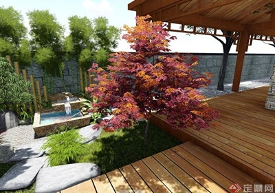 现代日式花园庭院设计SU模型