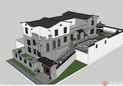 古典中式私家花园SU模型+JPG效果图