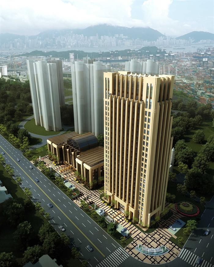 某高层欧式新古典办公楼、酒店建筑方案设计(cad、skp、效果图)(1)