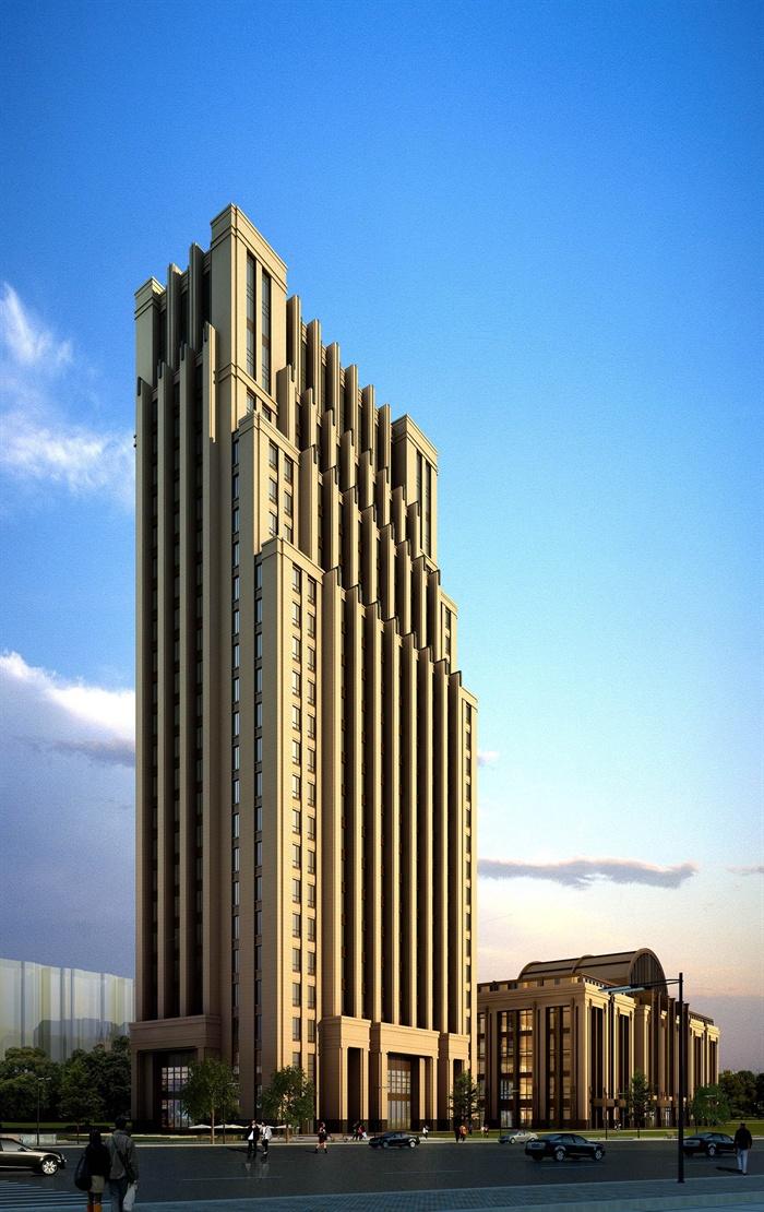 某高层欧式新古典办公楼、酒店建筑方案设计(cad、skp、效果图)(2)