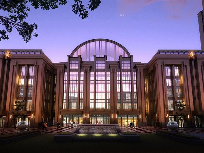 某高层欧式新古典办公楼、酒店建筑方案设计(cad、skp、效果图)(3)