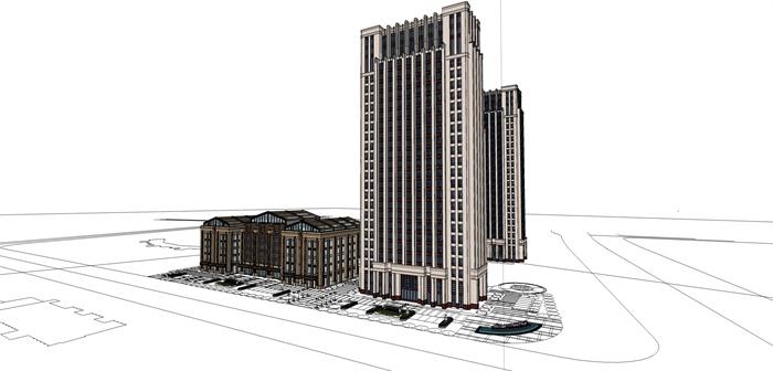 某高层欧式新古典办公楼、酒店建筑方案设计(cad、skp、效果图)(5)