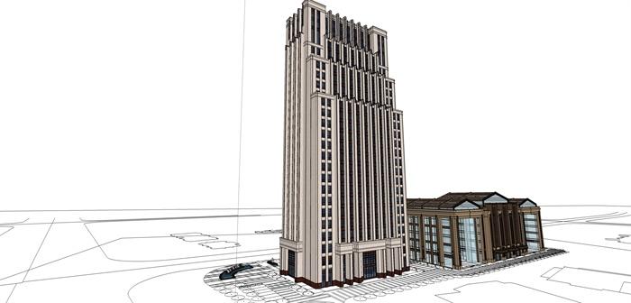 某高层欧式新古典办公楼,酒店建筑方案设计(cad,skp,效果图)(6)