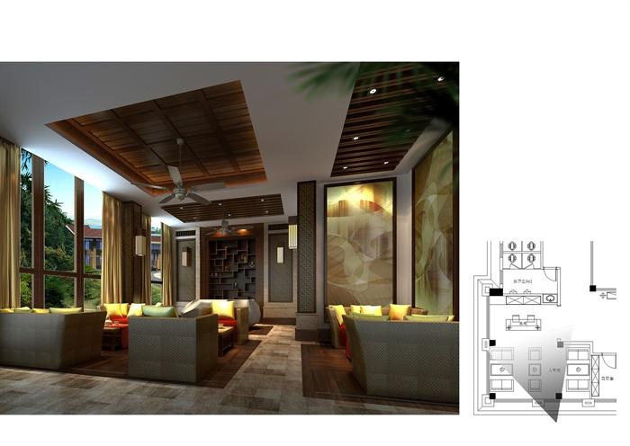 某中式酒店会所建筑施工图,室内cad施工图设计(含效果图)