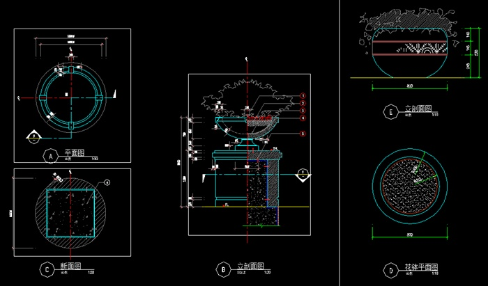 花钵花钵柱cad详图,包括立面图,平面图,剖面图,图纸内容完整细致
