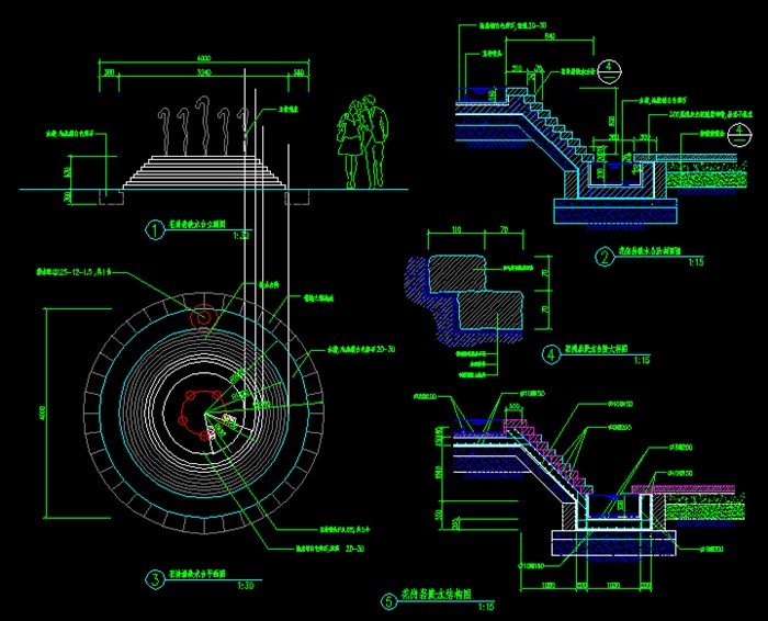 跌水水池设计cad施工图
