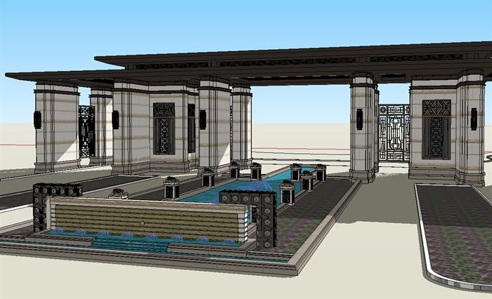 某新古典风格小区入口大门设计su模型