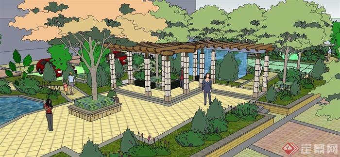 住宅小区中庭景观设计su模型图片