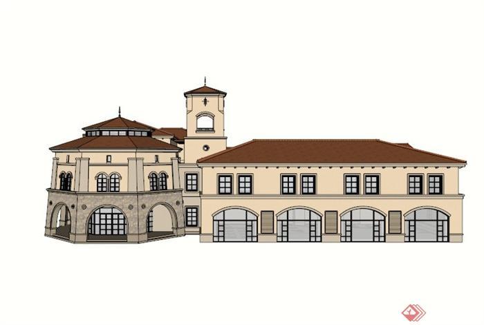 欧式石材幼儿园建筑设计su模型[原创]