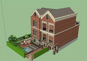 欧式三层别墅建筑庭院设计su(草图大师)模型