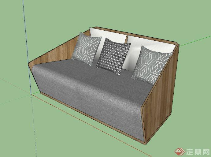 木材布艺拼接雅致沙发设计su模型[原创]