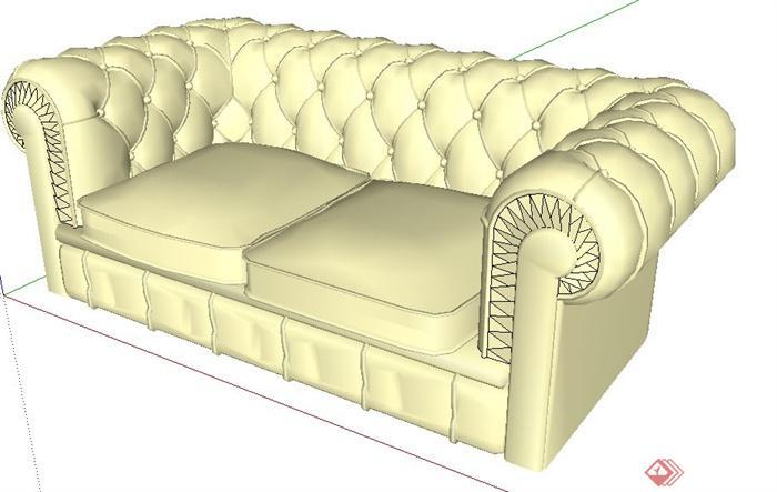 欧式双人沙发设计su模型(1)
