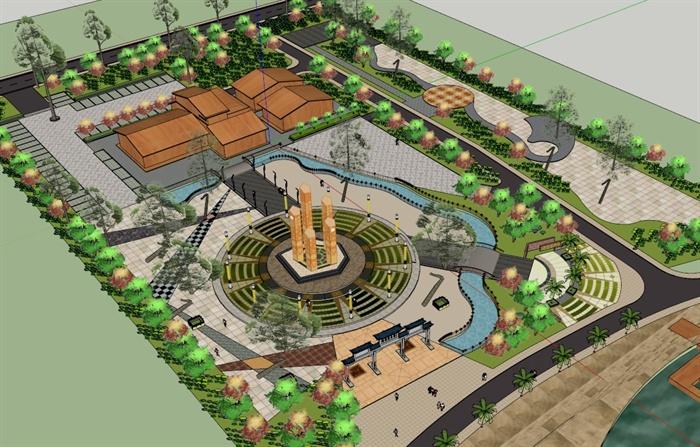 某现代城市广场景观设计su模型素材(2)