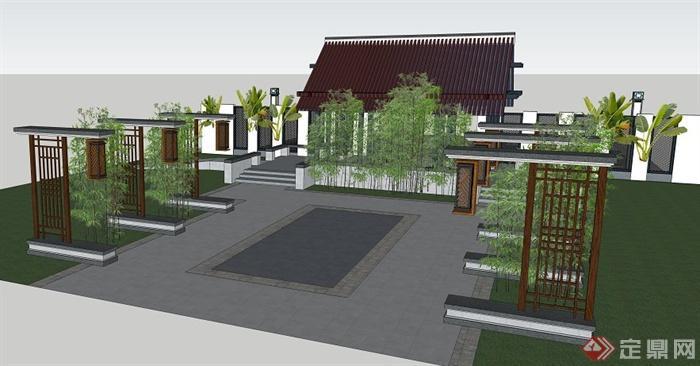 中式风格入口庭院景观设计su模型[原创]图片