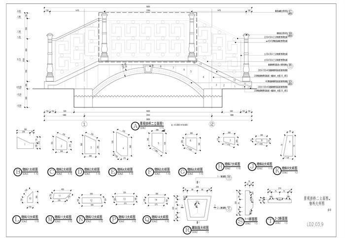 欧式拱桥cad施工图(混凝土结构)[原创]