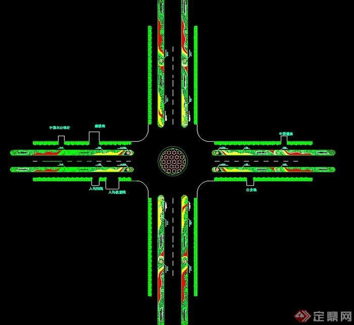 十字路口城市道路绿化平面图[原创]
