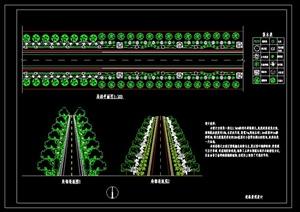 某道路景观设计局部平面图设计cad透视图-道路节点资料园林景观