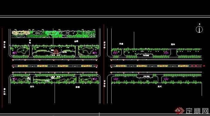 某现代道路绿化设计cad平面图素材