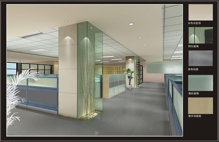 某电器公司办公室室内设计施工图(带效果图),包括平面图、设计说明、天花布置、铺装图、节点大样图、详图、立面图等,效果图美观大方,供室内设计参考使用。
