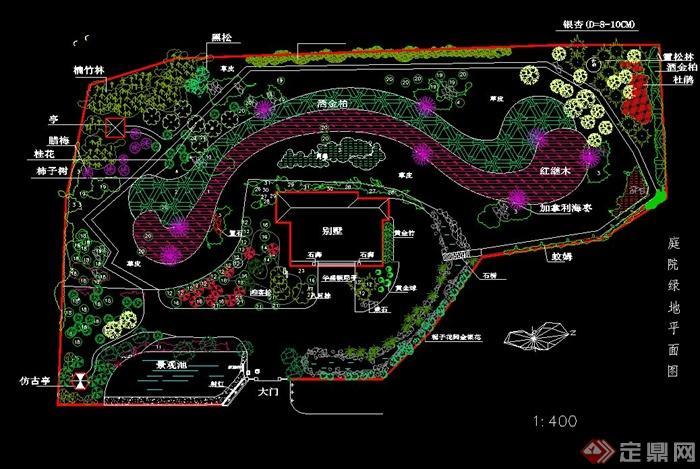 某别墅庭院绿地cad平面图
