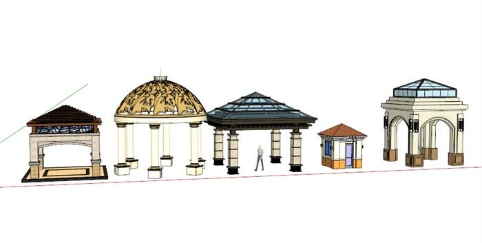5款欧式风格景观凉亭设计su模型[原创]图片