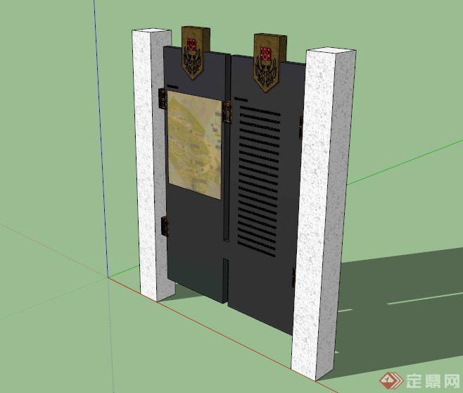 现代中式景区指示牌小品设计su模型(1)