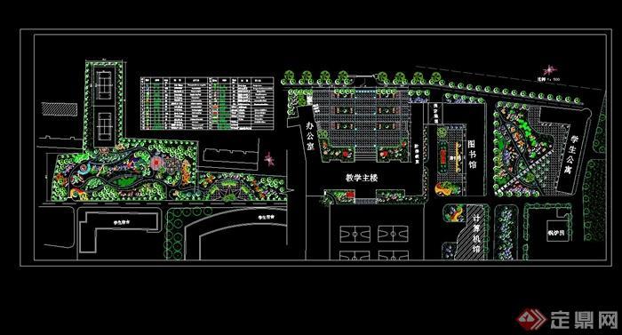 某学校校园绿化设计cad平面图