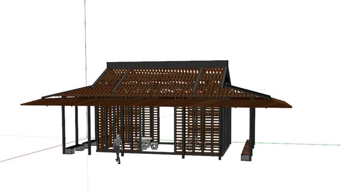 现代中式木板亭子设计su模型[原创]