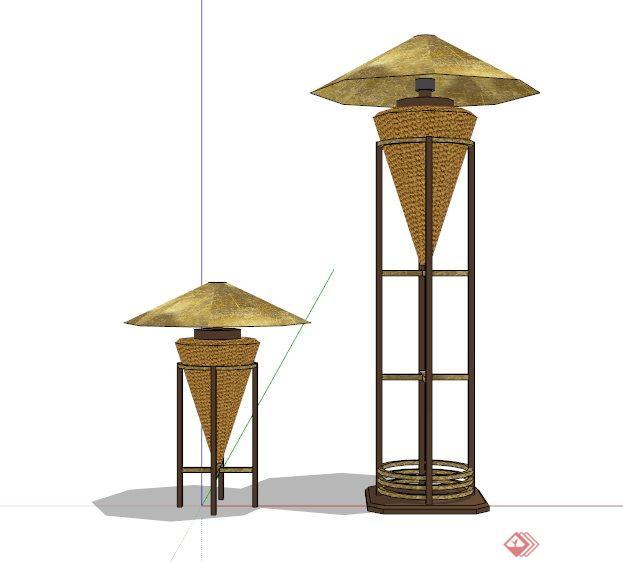 现代中式木制景观灯设计su模型[原创]