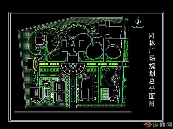 某现代风格园林广场规划设计cad总平面图