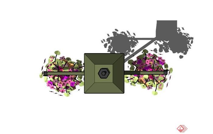 现代花盆路灯设计su模型(2)