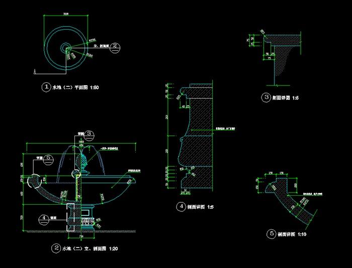 欧式水池详细设计cad施工图[原创]