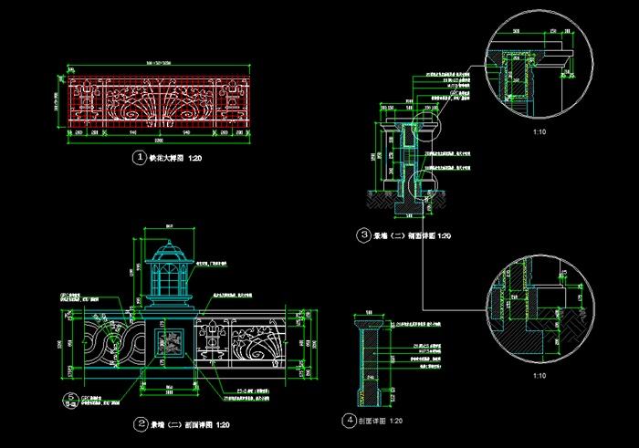 某欧式风格景墙,灯柱设计cad施工图[原创]