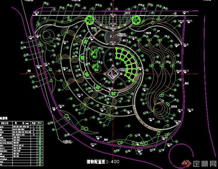 某小型公园景观植物配置图cad设计[原创]