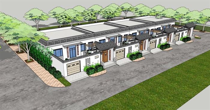 單層帶院落新農村民居su模型設計